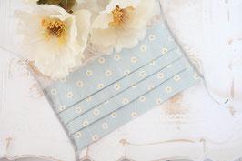 Mundmaske - Retro Blumen Blau
