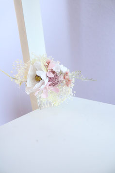 Haarkamm - Weiße Blume