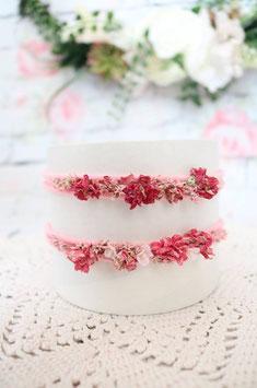 Stirnband - Rosa/Rosa-kleine Blumen