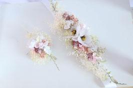 Set: Gürtel und Haakamm - Weiße Blumen