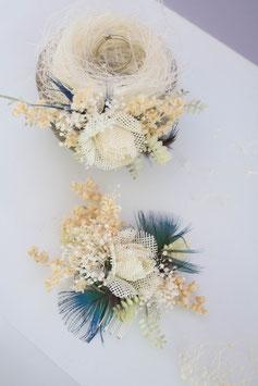 Haarkamm - Feder Blau ( Trockenblumen)
