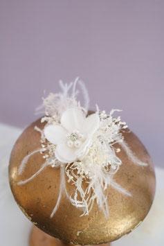 Haarkamm - Feder Weiß (Trockenblumen)