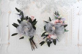 Brautset: Haarkamm und Bräutigam Anstecker - Sarah