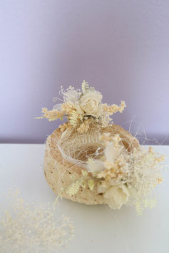 Set: Ringhalter (Kokosschale) mit Haarkamm