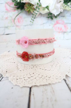Stirnband - Pink/Ziegelfarbe