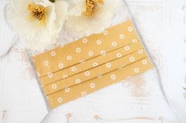 Mundmaske - Retro Blumen Gelb
