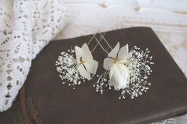 Haarnadeln 2 Stück - Weiße Rosen