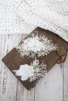 Brautset: Haarkamm und Bräutigam Anstecker - BLENDEND WEIßE