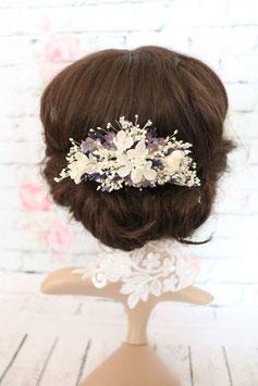 Haarkamm - Schleierkraut und Lavendel