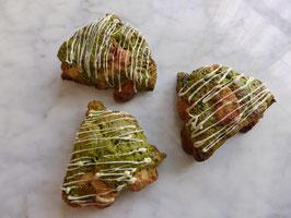 Macha (powdered green tea) & white chocolate scone