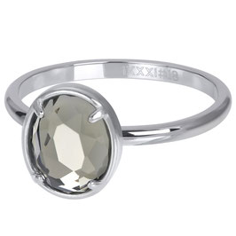 Ring Glam Oval Crystal silber