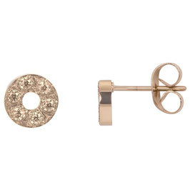 Ear studs Circle stone 6 mm rosegold