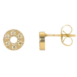 Ear studs Circle stone 6 mm gold