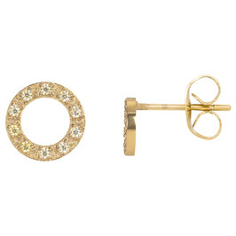 Ear studs Circle stone 10 mm gold