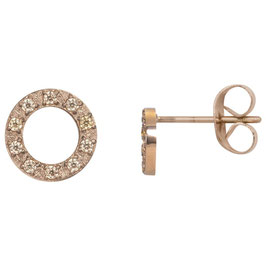 Ear studs Circle stone 10 mm rosegold