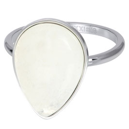 Ring Royal Stone Drop White silber