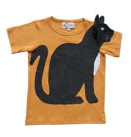 KATZE T-Shirt senf mit     Leuchtaugen