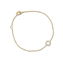 Bracelet plaqué or et pierres en oxyde de zirconium anneau