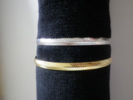 Bracelet jonc rainuré en métal doré ou argenté