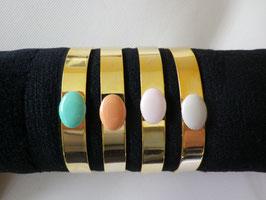 Bracelet jonc large doré email de couleur
