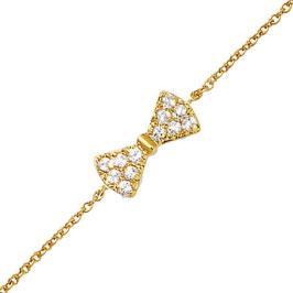 Bracelet plaqué-or motif noeud oxyde de zirconium