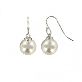 Boucles d'oreilles perles blanches nacrées en argent massif