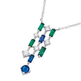 Collier Argent 925 Rhodié pierre Oxyde de zirconium de couleur blanche, bleue et vert