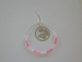 Boucles d'oreilles argenté perle facette rose estampe papillon