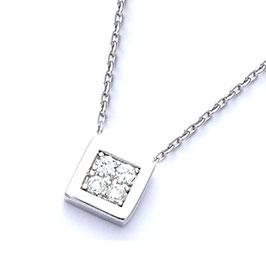 Collier en argent massif zirconium motif carré