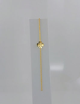 """Bracelet plaqué or motif «Trèfle""""."""