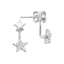 Boucles d'Oreilles Argent 925 Rhodié étoiles