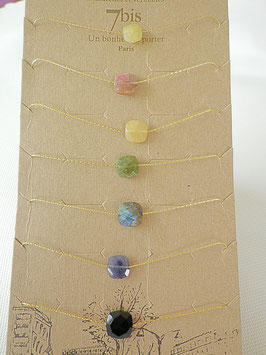 Bracelet chaine fine dorée perle semi précieuse