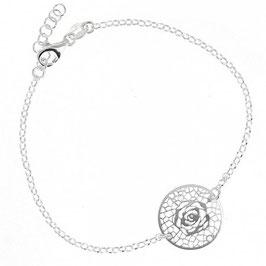 Bracelet argent massif fleur ajourée