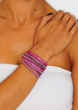 Bracelet multi-rang strass et clous