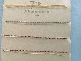 Bracelet 7 bis chaine dorée et fils