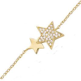 Bracelet plaqué-or étoiles