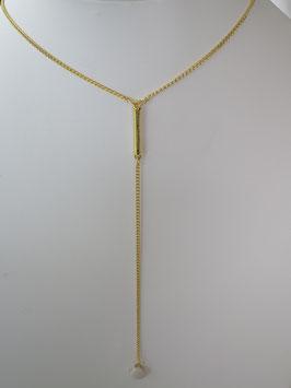 Collier chaine doré , barre et pendant émaillé