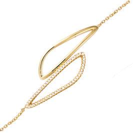 Bracelet plaqué-or zirconium motif goutte