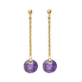 Boucles d'Oreilles Plaqué Or – Rond violet