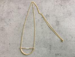 Sautoir chaine dorée pendentif perle blanche vert et rose jonc martelé