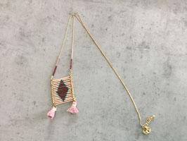 Sautoir chaine dorée perle rocaille et miyuki rouge bordeaux rose