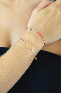 Bracelet jonc doré perle de rocaille