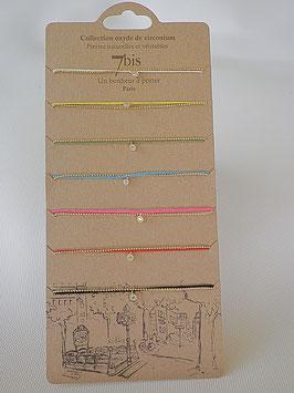 Bracelet fils tissus et chaine avec pierre zirconium