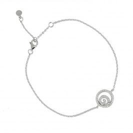 Bracelet en argent massif tourbillon et pierres en oxyde de zirconium