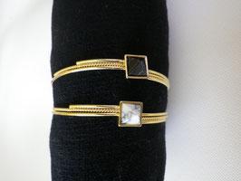 Bracelet jonc pierre carré