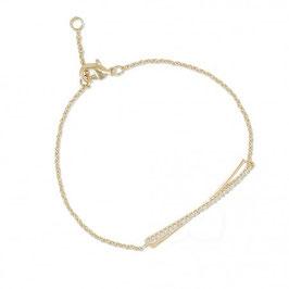 Bracelet plaqué or et oxyde de zirconium motif.