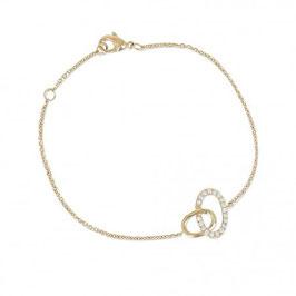 Bracelet plaqué or anneaux et pierres en oxyde de zirconium