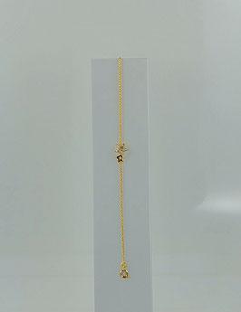 """Bracelet plaqué or et oxyde de zirconium motif """"double étoile""""."""