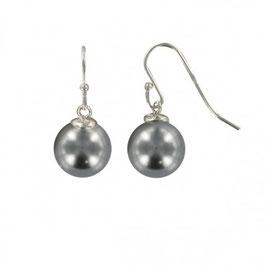 Boucles d'oreilles argent massif perles grises nacrées