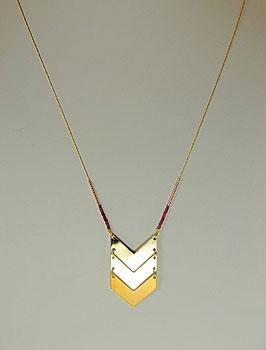 Collier 7 bis doré perle de rocaille flèche doré